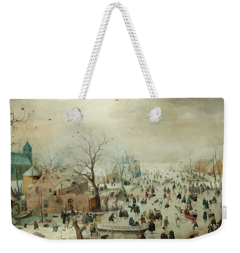 Winter Weekender Tote Bag featuring the painting Winter Landscape With Ice Skaters1608 by Hendrick Avercamp