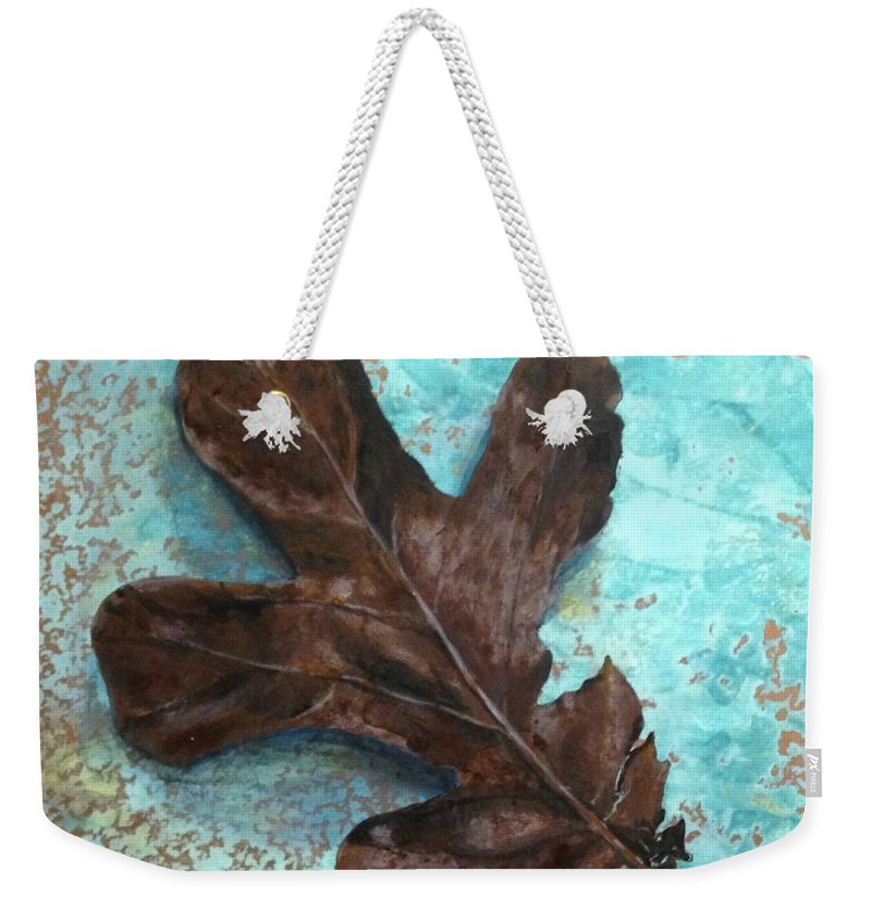 Leaf Weekender Tote Bag featuring the painting Winter Leaf by T Fry-Green