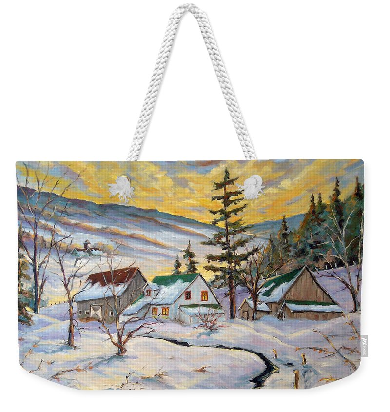 Landscape Weekender Tote Bag featuring the painting Winter Lights by Richard T Pranke