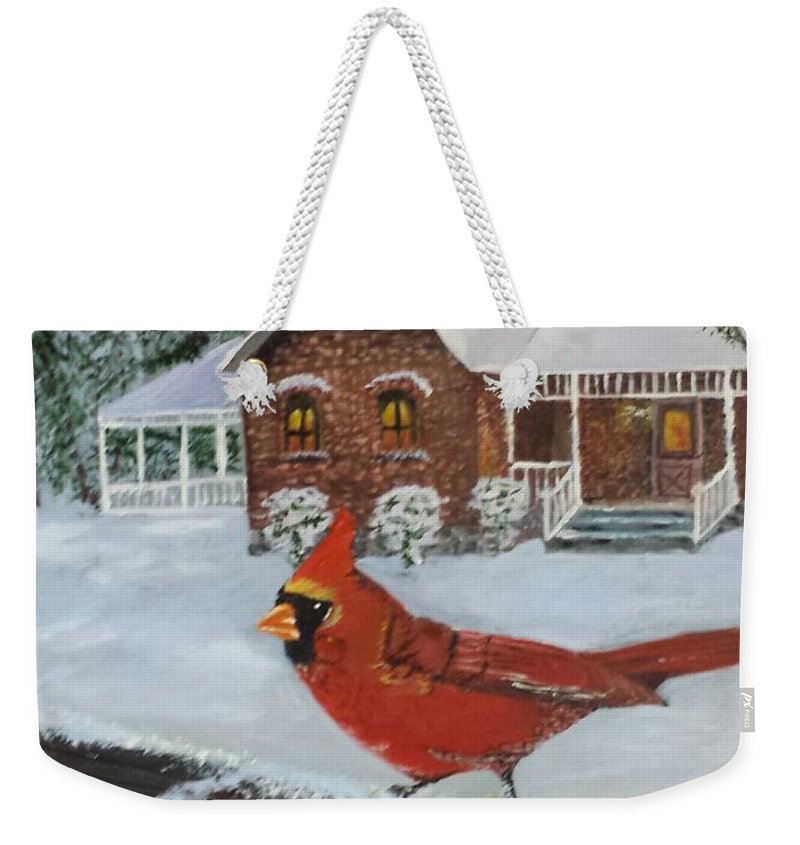 Cardinal Weekender Tote Bag featuring the painting Winter Male Cardinal by Sheli Paez
