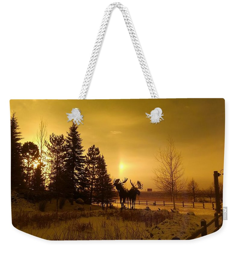 Sepia Weekender Tote Bag featuring the photograph Winter Moose Statue by Ethyl Lyons