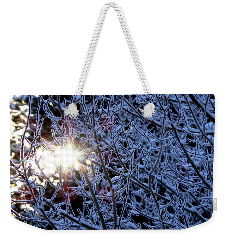 Winter Weekender Tote Bag featuring the photograph Winter Morning Sunrise by Mark Ivins