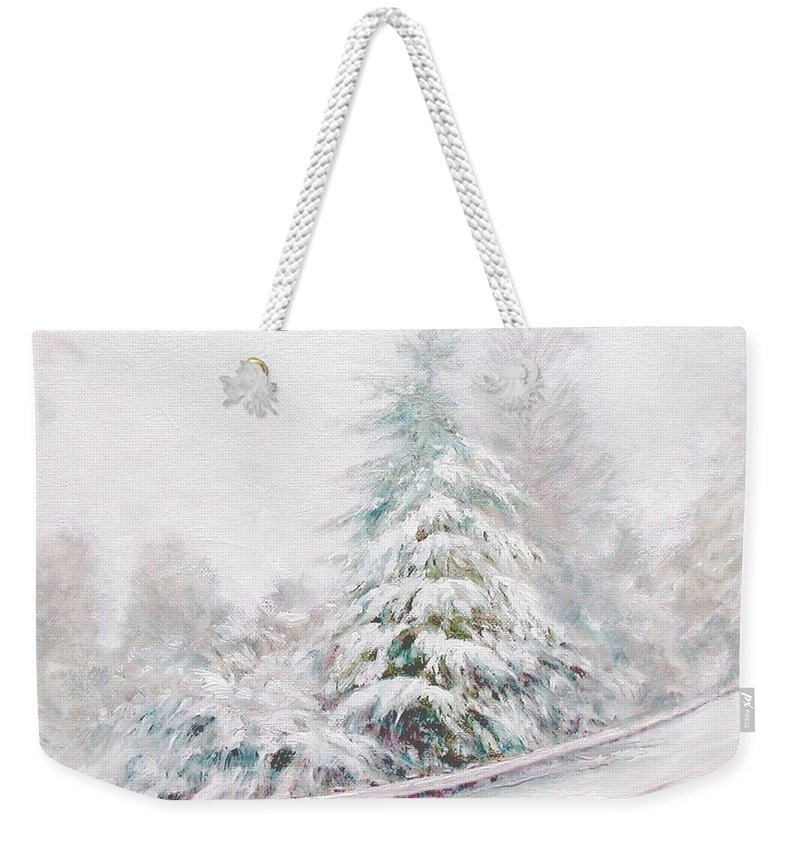Winter Landscape Weekender Tote Bag featuring the painting Winter Of 04 by Jim Gola