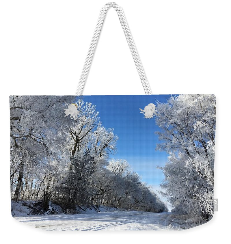 Nebraska Weekender Tote Bag featuring the photograph Winter On 210th St. by Kyle Mock