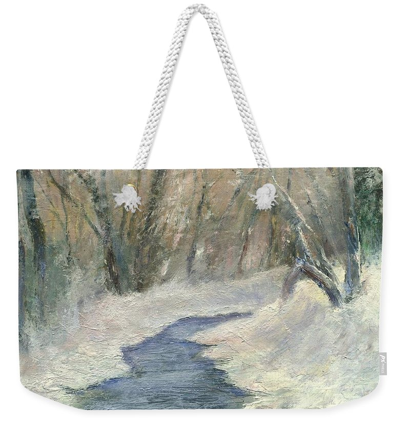 Snow Weekender Tote Bag featuring the painting Winter On Stormcreek by Gail Kirtz