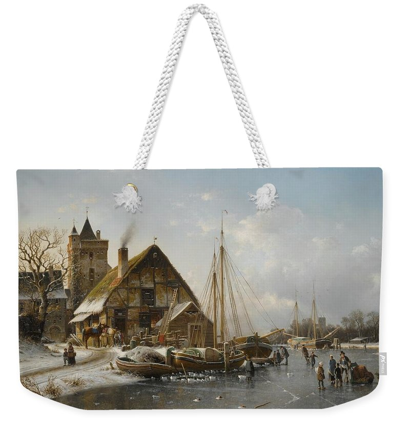 Johannes Duntze Dutch Weekender Tote Bag featuring the painting Winter On The Rhine by MotionAge Designs