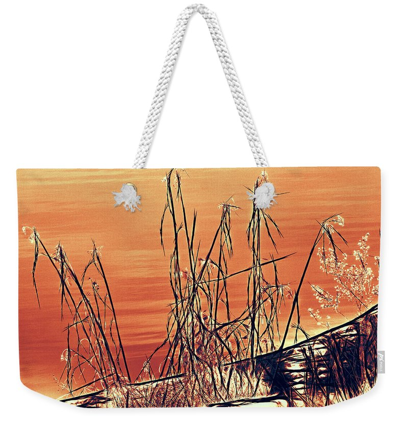 Abstract Weekender Tote Bag featuring the photograph Winter Orange by Bob Orsillo