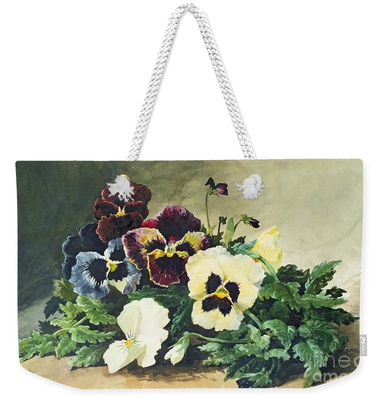 Winter Weekender Tote Bag featuring the painting Winter Pansies by Louis Bombled