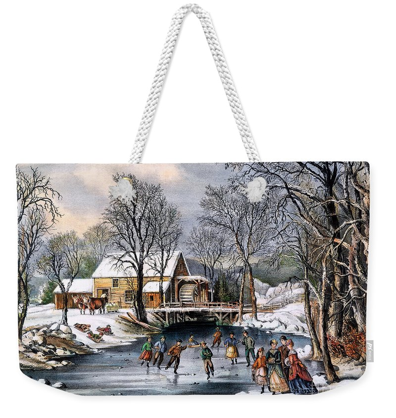 1870 Weekender Tote Bag featuring the photograph Winter Pastime, 1870 by Granger