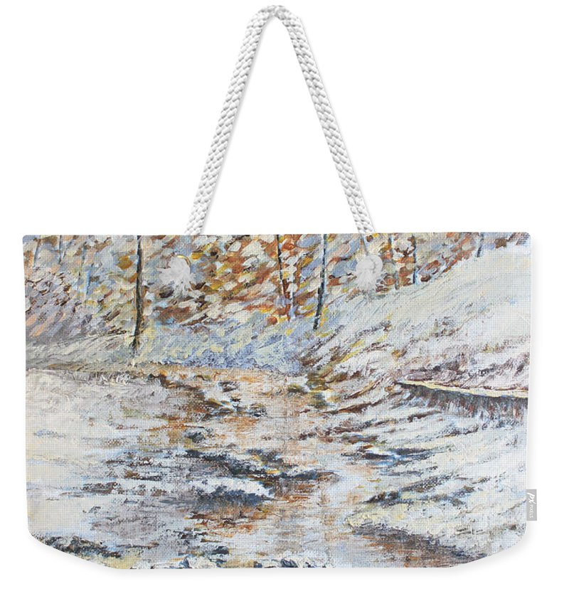 Landscape Weekender Tote Bag featuring the painting Winter River by Todd Blanchard