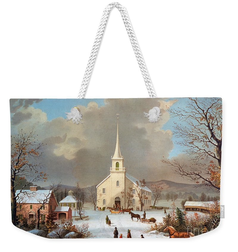 Weekender Tote Bag featuring the painting Winter Scene, C1875 by Granger