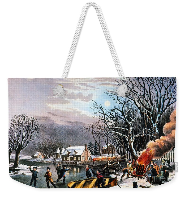 Weekender Tote Bag featuring the painting Winter Scene: Evening 1854 by Granger