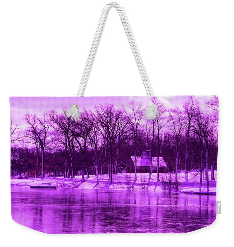 Violet Weekender Tote Bag featuring the photograph Winter Scene In Violet by By Way of Karma