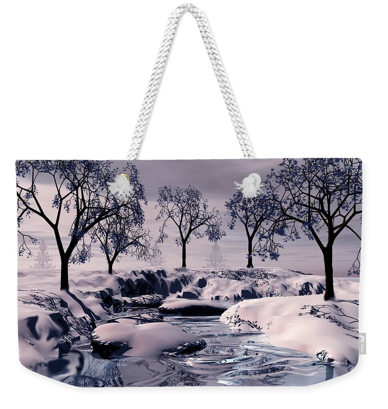 Winter Weekender Tote Bag featuring the digital art Winter Scene by John Junek