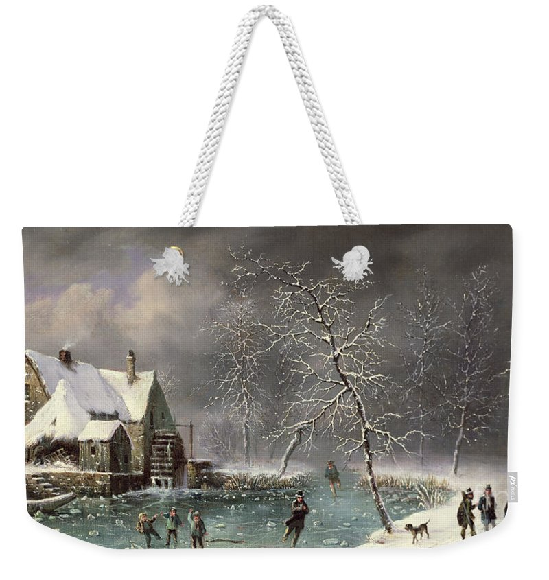 Winter Scene By Louis Claude Mallebranche (1790-1838) Weekender Tote Bag featuring the painting Winter Scene by Louis Claude Mallebranche