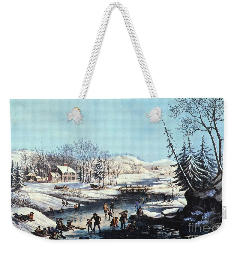 1854 Weekender Tote Bag featuring the photograph Winter Scene: Morning 1854 by Granger