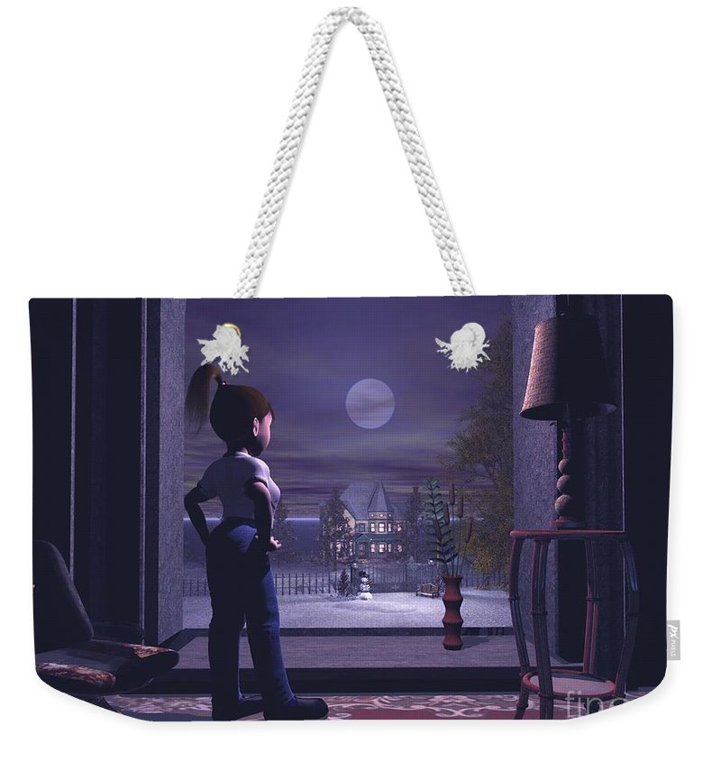 Winter Scene Threw A Window Weekender Tote Bag featuring the digital art Winter Scene Threw A Window by John Junek