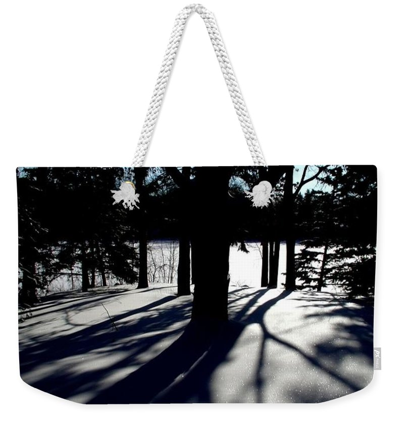 Landscape Weekender Tote Bag featuring the photograph Winter Shadows 2 by Tom Reynen