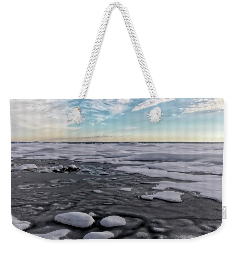 Artistic Weekender Tote Bag featuring the digital art Winter Shoreline by Phill Doherty