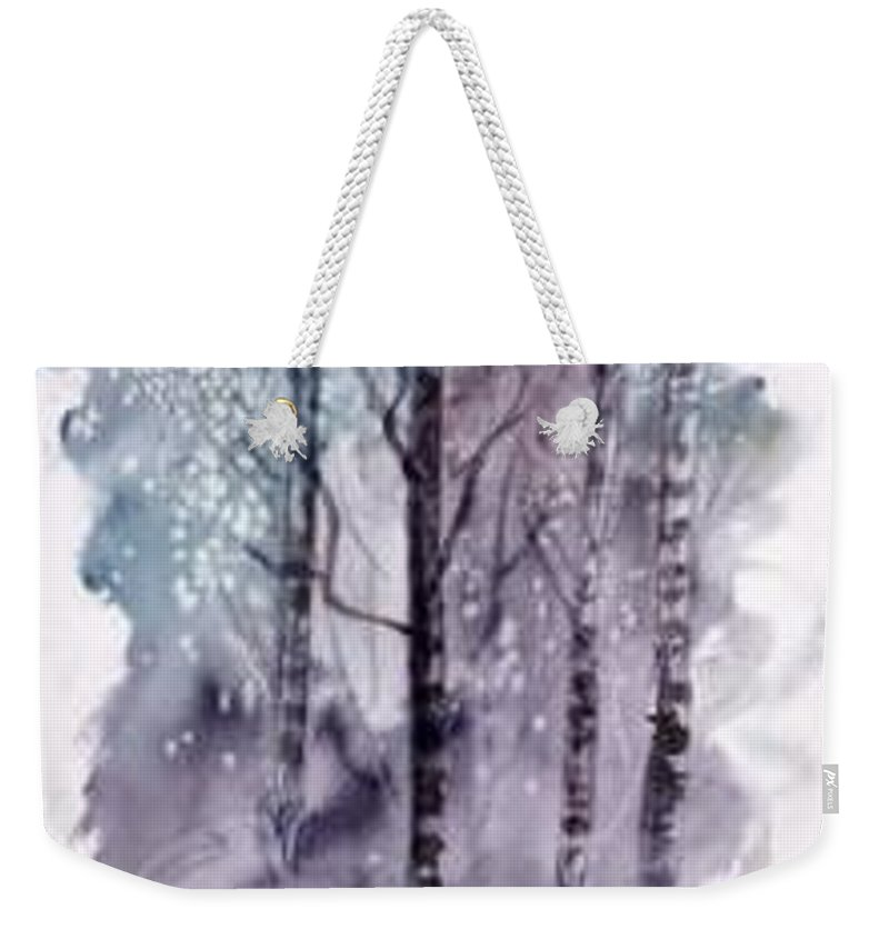 Watercolor Landscape Painting Weekender Tote Bag featuring the painting WINTER snow landscape painting print by Derek Mccrea