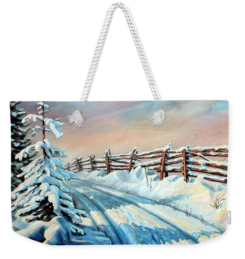 Winter Landscape Art Weekender Tote Bag featuring the painting Winter Snow Tracks by Hanne Lore Koehler