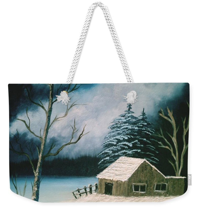 Winter Landscape Weekender Tote Bag featuring the painting Winter Solitude by Jim Saltis
