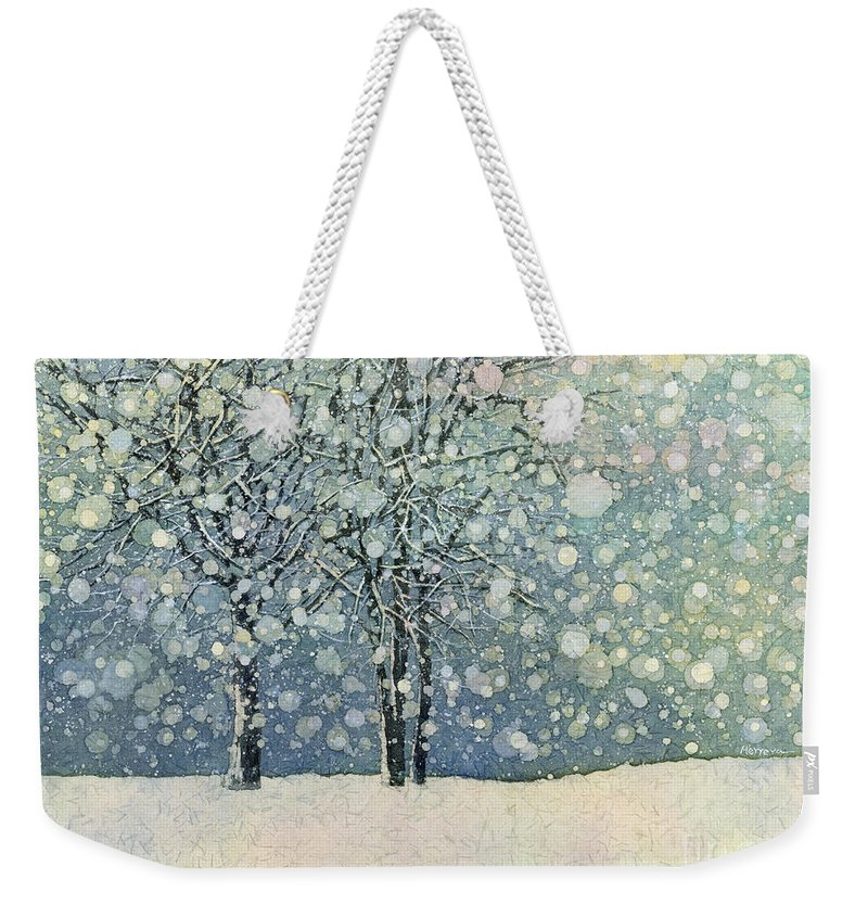 Snow Weekender Tote Bag featuring the painting Winter Sonnet by Hailey E Herrera