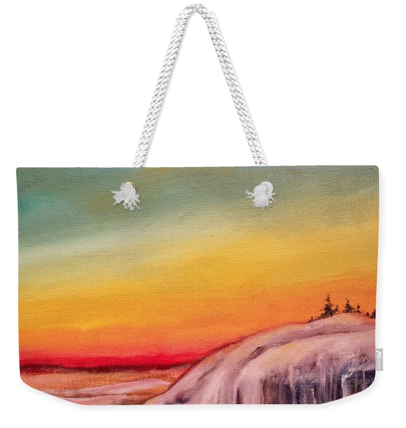 Rainbow Weekender Tote Bag featuring the painting Winter Spectrum by Susan Hanna
