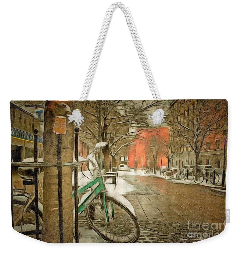 Winter Stockholm Swiss City Weekender Tote Bag featuring the pyrography Winter Stockholm Swiss by Yury Bashkin