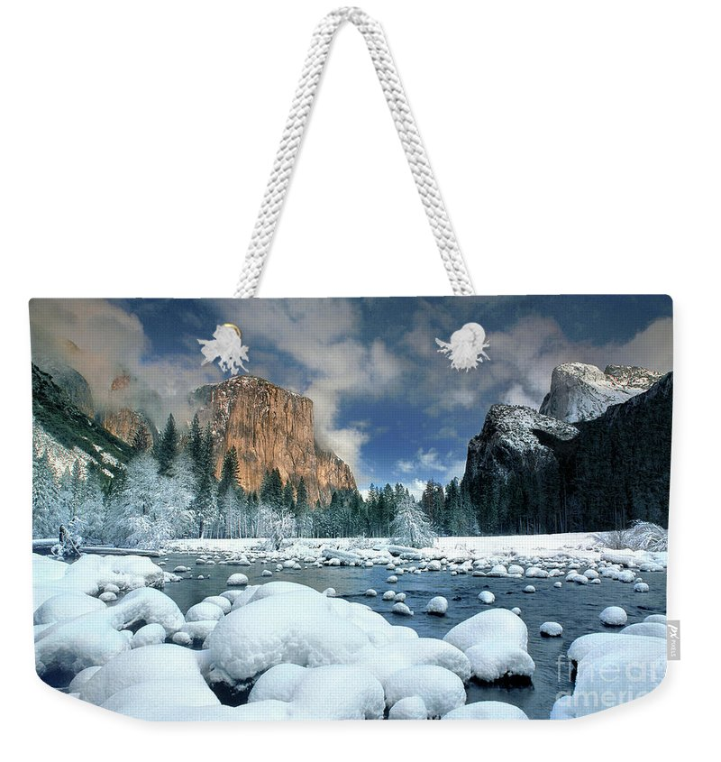 Yosemite National Park; California; United States; North America; Np; Gates Of The Valley Weekender Tote Bag featuring the photograph Winter Storm In Yosemite National Park by Dave Welling