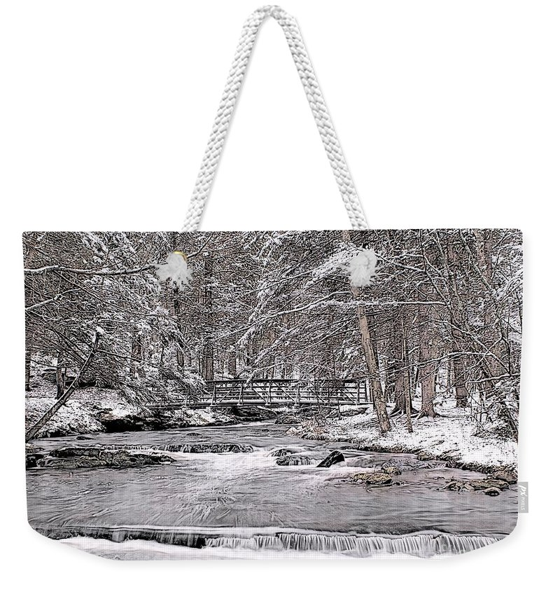 Winter Weekender Tote Bag featuring the photograph Winter Stream And Woods by Nick Zelinsky