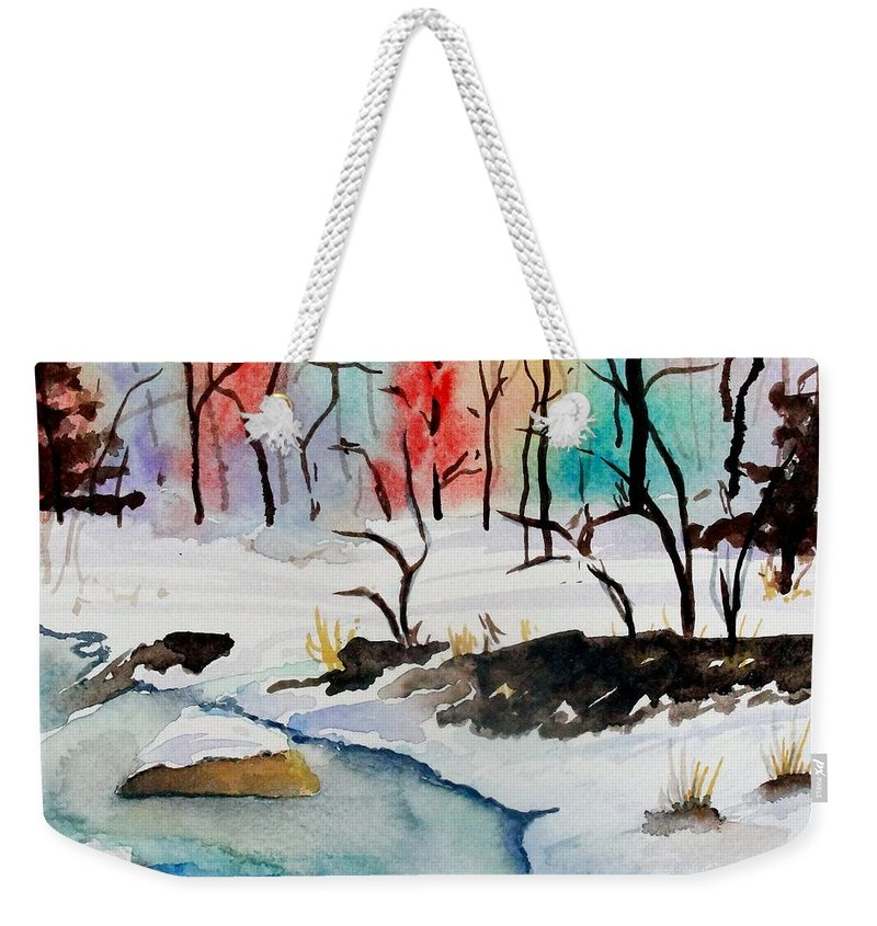 Colors Weekender Tote Bag featuring the painting Winter Stream by Jimmy Smith