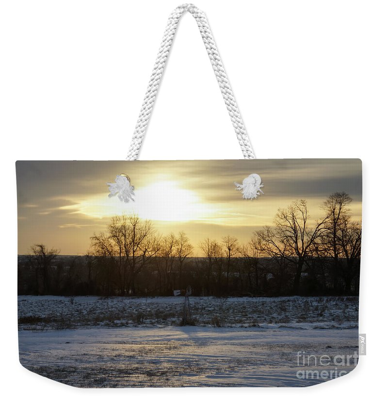 Cloudy Weekender Tote Bag featuring the photograph Winter Sunrise by Jennifer White