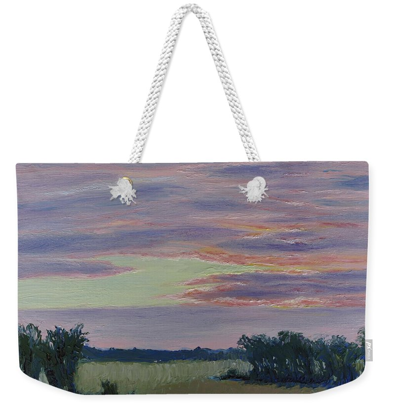 Sunset Weekender Tote Bag featuring the painting Winter Sunset by Lea Novak