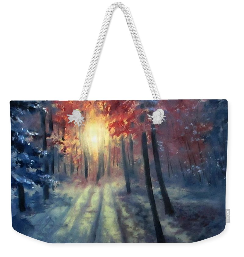 Winter Weekender Tote Bag featuring the painting Winter Sunset by Natalja Picugina