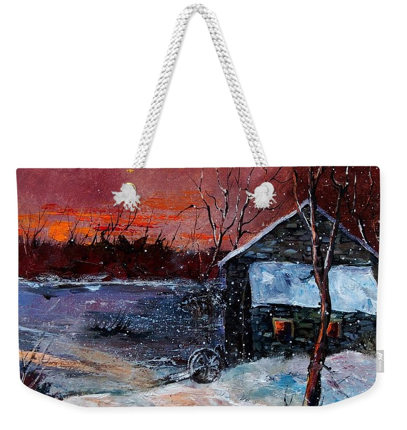 Winter Weekender Tote Bag featuring the painting Winter Sunset by Pol Ledent