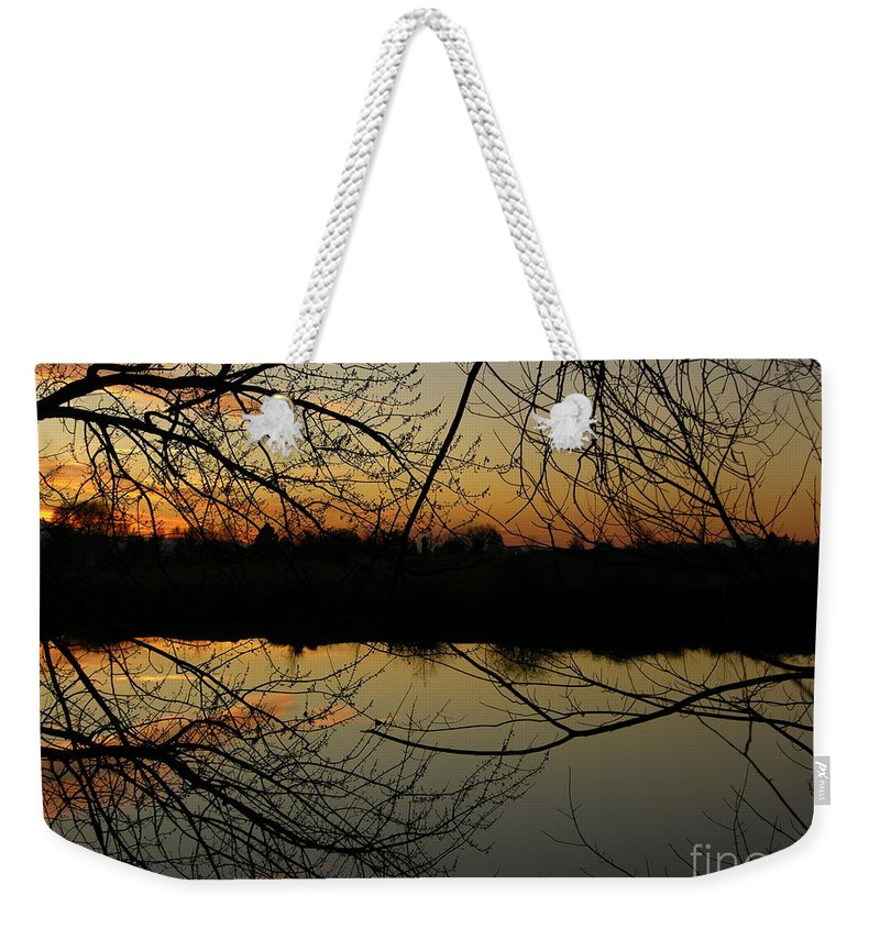 Sunset Weekender Tote Bag featuring the photograph Winter Sunset Reflection by Carol Groenen