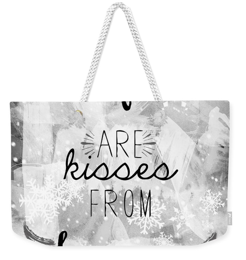Snowflakes Weekender Tote Bag featuring the photograph Winter Themed Card Design by Sophie McAulay
