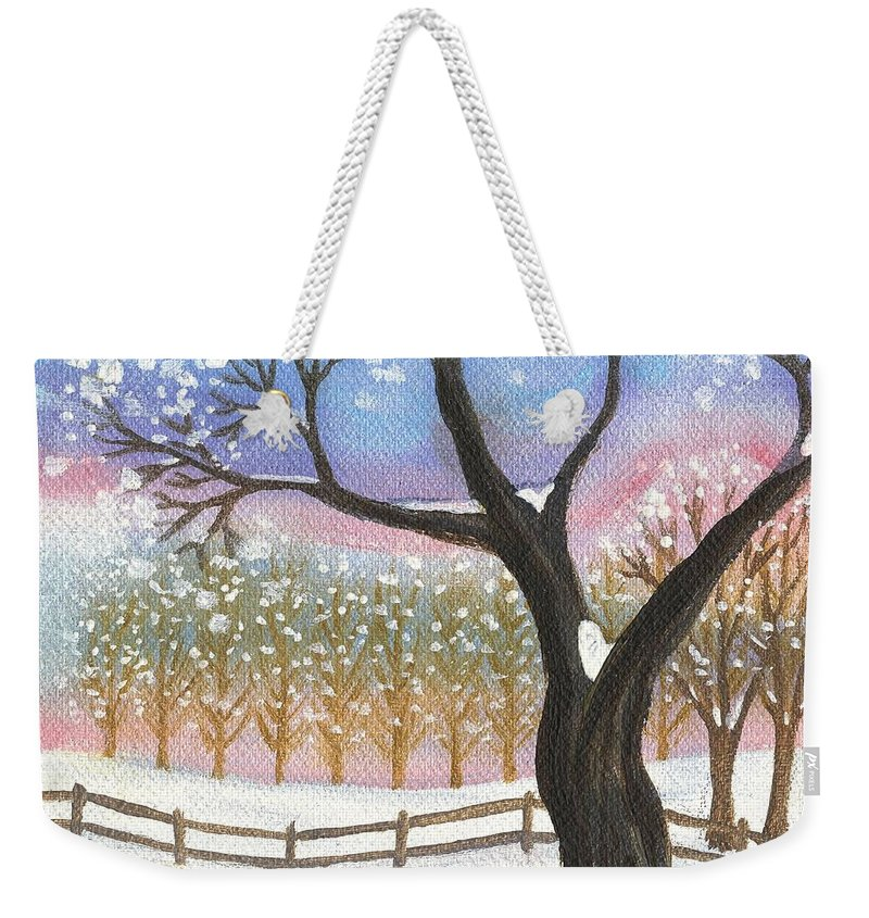 Winter Landscape Weekender Tote Bag featuring the painting Winter Tree Landscape by Linda Mears