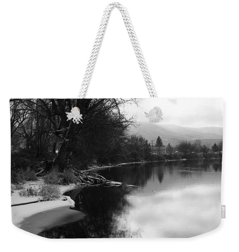 Black And White Weekender Tote Bag featuring the photograph Winter Tree Reflection - Black and White by Carol Groenen