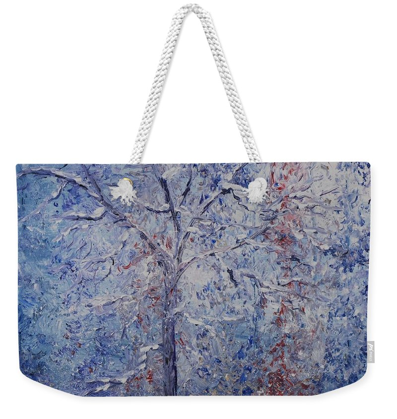 Winter Weekender Tote Bag featuring the painting Winter Trees by Nadine Rippelmeyer