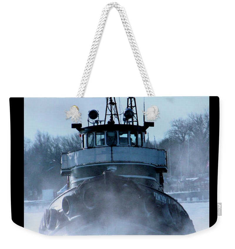 Tug Weekender Tote Bag featuring the photograph Winter Tug by Tim Nyberg