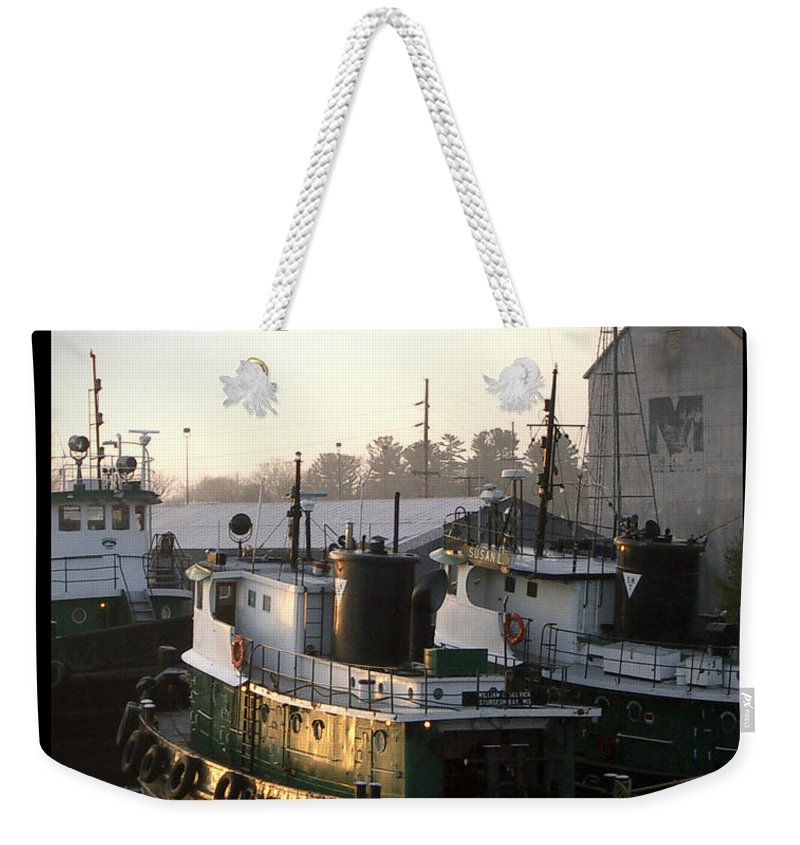 Tugs Weekender Tote Bag featuring the photograph Winter Tugs by Tim Nyberg