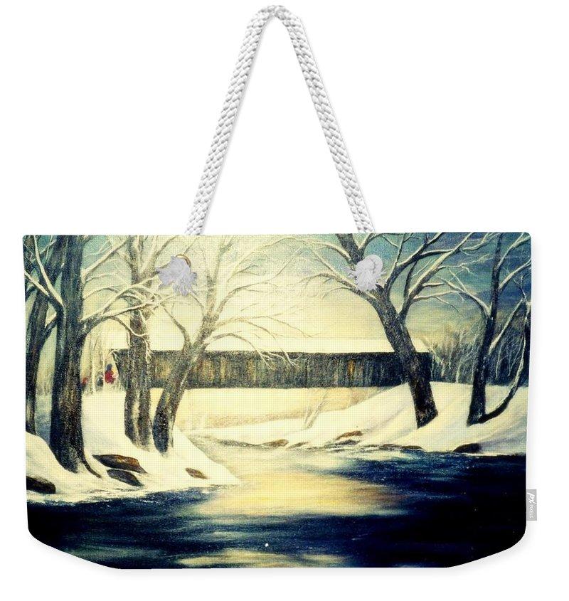 Bridge Weekender Tote Bag featuring the painting Winter Walk At Bennett's Mill Bridge by Gail Kirtz