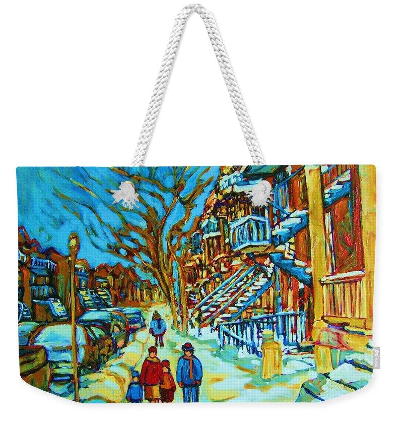 Winterscenes Weekender Tote Bag featuring the painting Winter Walk In The City by Carole Spandau