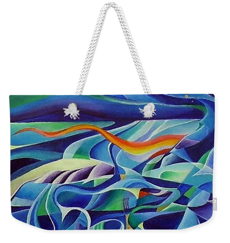 Winter Vivaldi Music Abstract Acrylic Weekender Tote Bag featuring the painting Winter by Wolfgang Schweizer