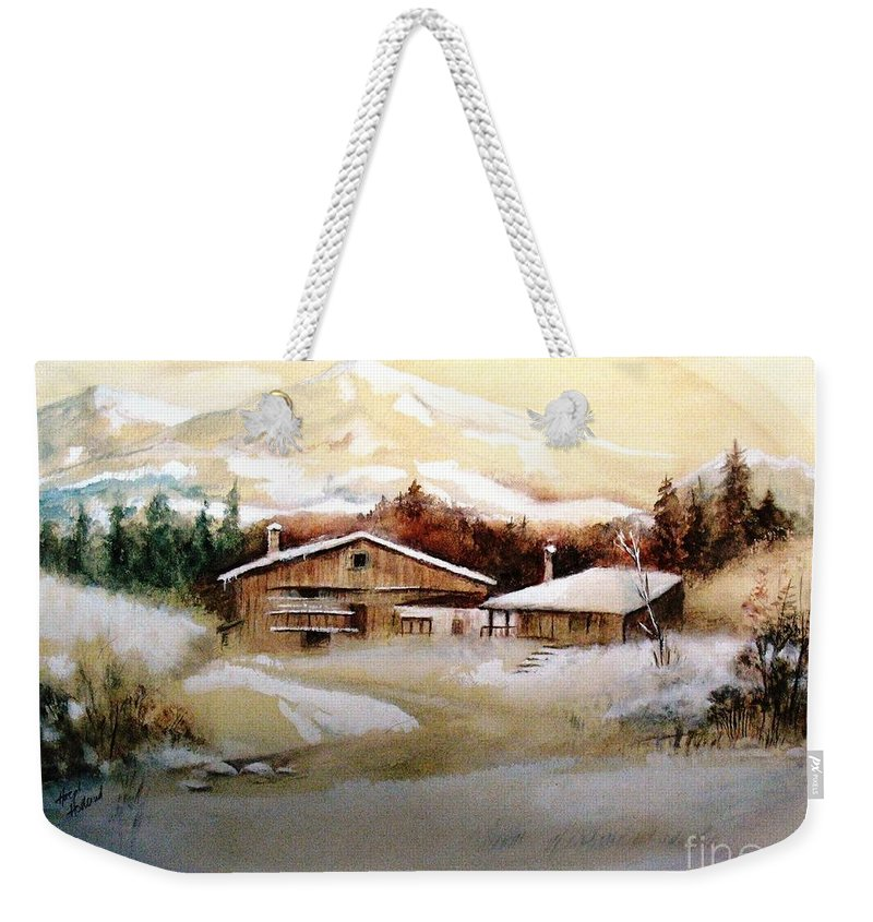 Snow Weekender Tote Bag featuring the painting Winter Wonderland by Hazel Holland