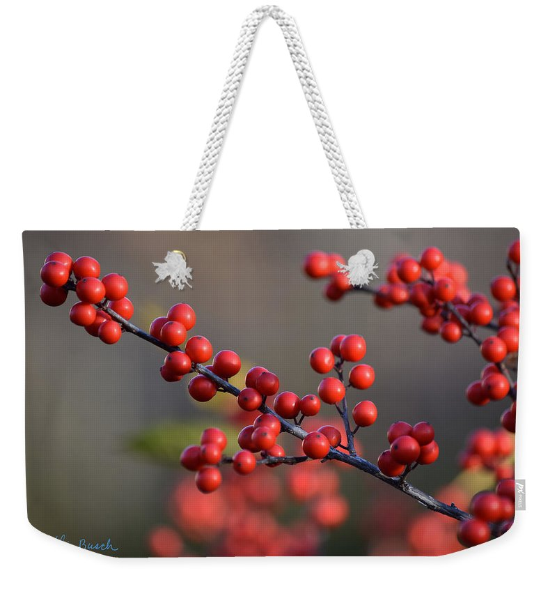 Winterberry Weekender Tote Bag featuring the photograph Winterberry by Chris Busch