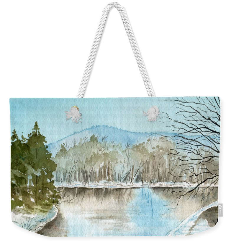 Landscape Weekender Tote Bag featuring the painting Winter's Daylight Chill by Brenda Owen