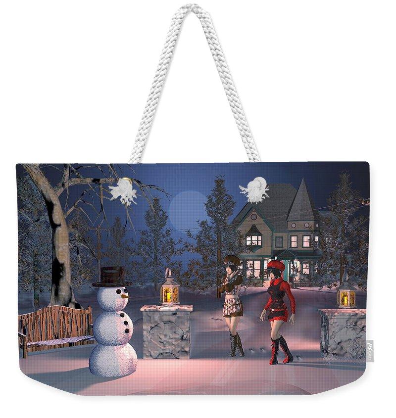 Winter Scene Weekender Tote Bag featuring the digital art Winters Night by John Junek